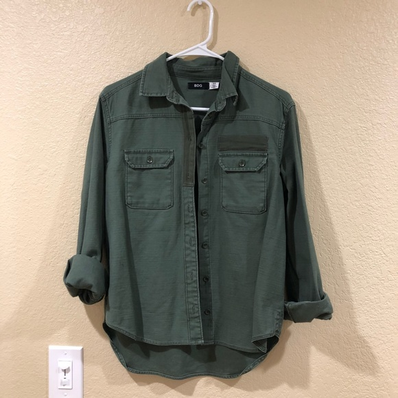 Bdg Tops Urban Outfitters Olive Green Button Up Shirt Poshmark